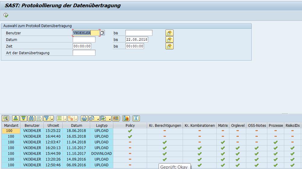 SAST Protokollierung der Datenübertragung