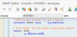 ABAP-Editor <SYSINI>